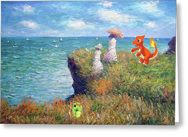 Greeting Card featuring the digital art Pokemonet Seaside by Greg Sharpe