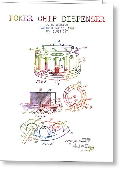 Poker Chip Dispenser Patent From 1962 - Rainbow Greeting Card by Aged Pixel