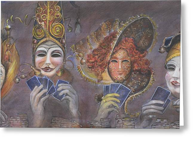 Greeting Card featuring the painting Poker Game Faces by Nik Helbig