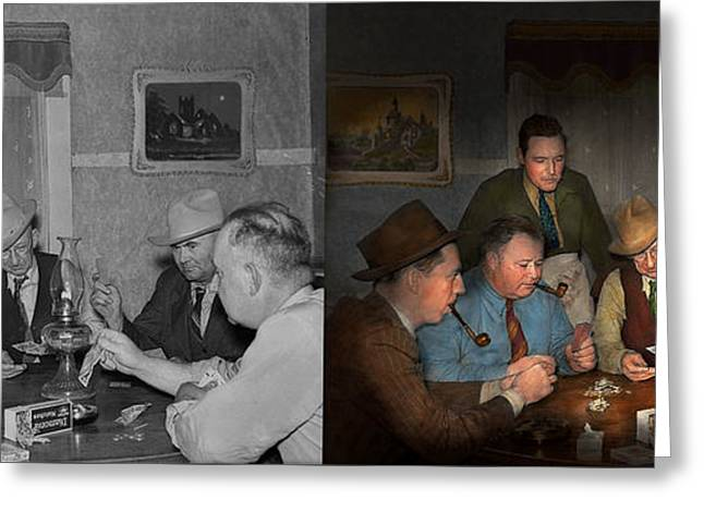 Poker - Poker Face 1939 - Side By Side Greeting Card by Mike Savad