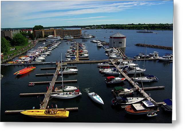 Poker Run Boats At Confederation Basin Greeting Card