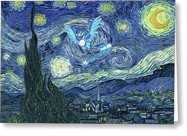 Greeting Card featuring the digital art Pokevangogh Starry Night by Greg Sharpe