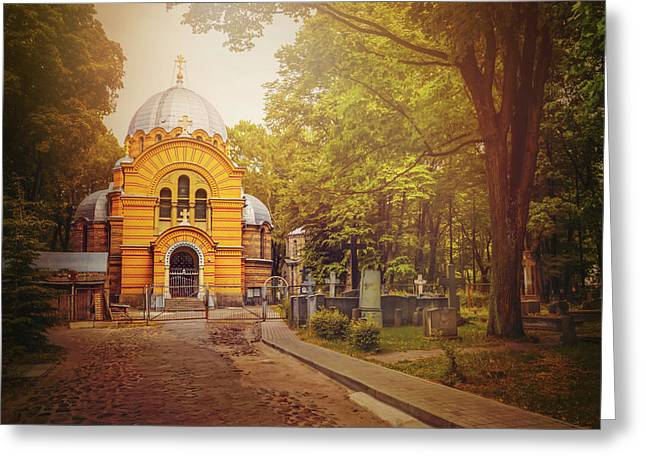 Pokrov Cemetery And Orthodox Church Riga Latvia  Greeting Card