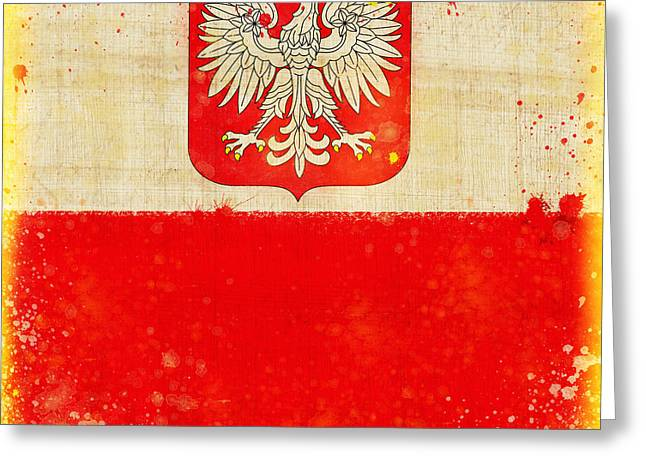Grunge Pastels Greeting Cards - Poland flag Greeting Card by Setsiri Silapasuwanchai