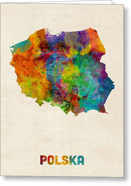 Poland Watercolor Map Greeting Card