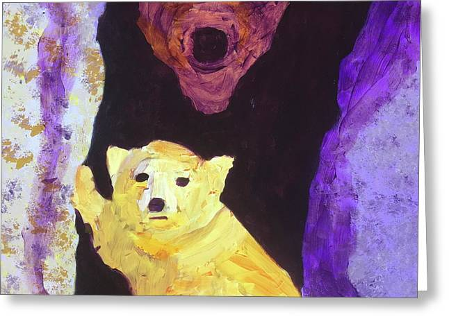 Greeting Card featuring the painting Cave Bear With Cub by Donald J Ryker III