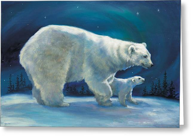 Polar Bear And Cub Greeting Card