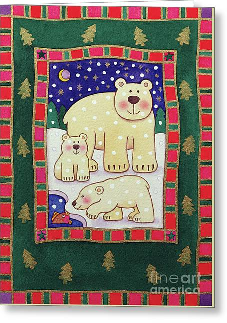 Polar Bear And Cubs Greeting Card by Cathy Baxter