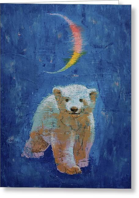 Polar Bear Cub Greeting Card by Michael Creese