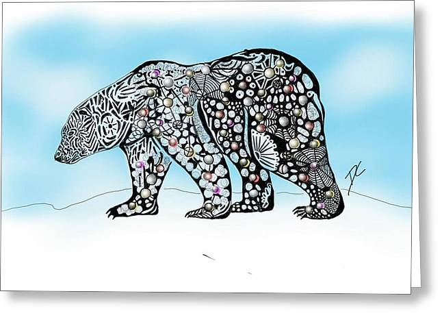 Greeting Card featuring the digital art Polar Bear Doodle by Darren Cannell