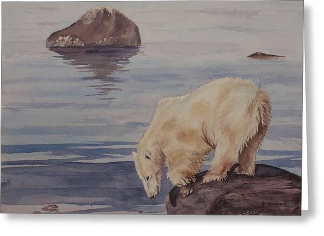 Polar Bear Fishing Greeting Card by Debbie Homewood