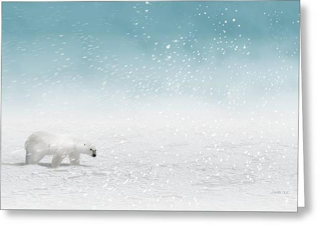 Polar Bear In Snow Greeting Card