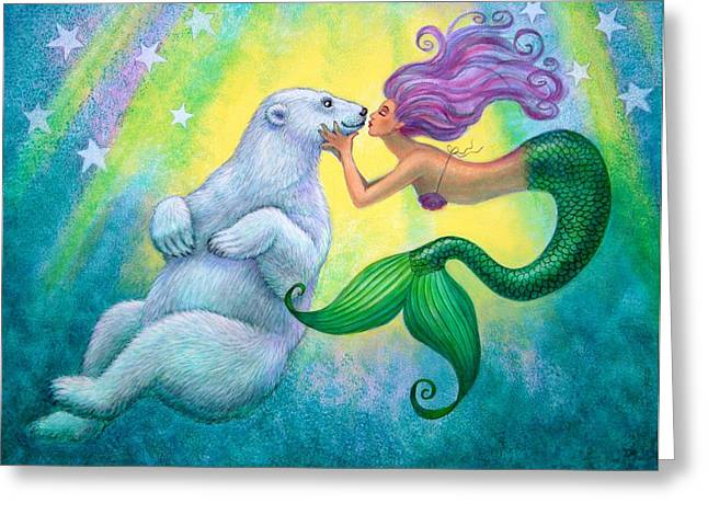 Pop Surrealism Paintings Greeting Cards - Polar Bear Kiss Greeting Card by Sue Halstenberg