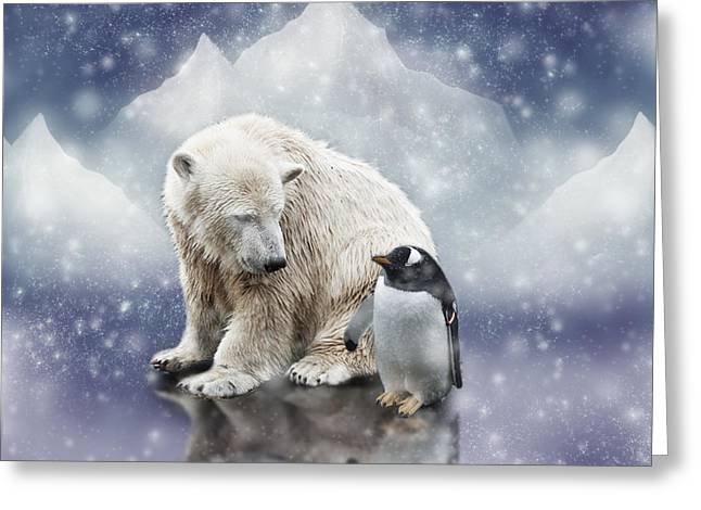 Polar Bear Meets Penguin Greeting Card by Ethiriel  Photography