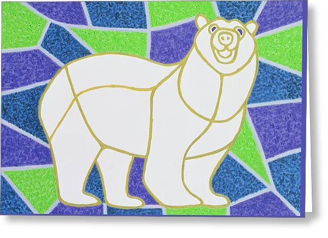 Polar Bear On Stained Glass Greeting Card by Pat Scott