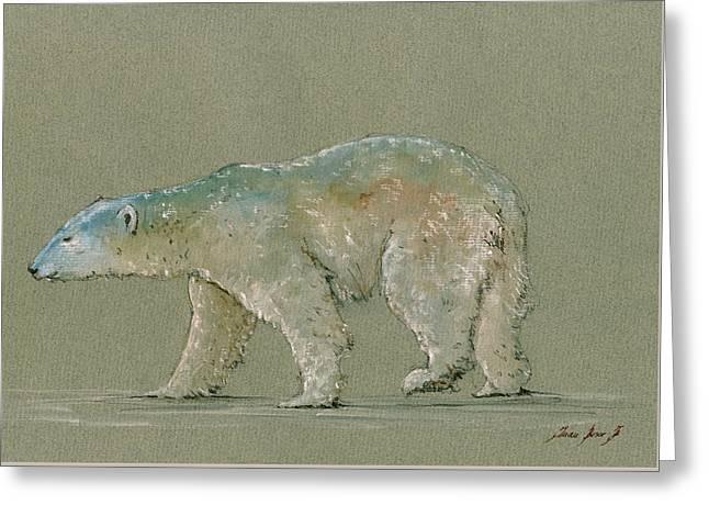 Polar Bear Original Watercolor Painting Art Greeting Card by Juan  Bosco