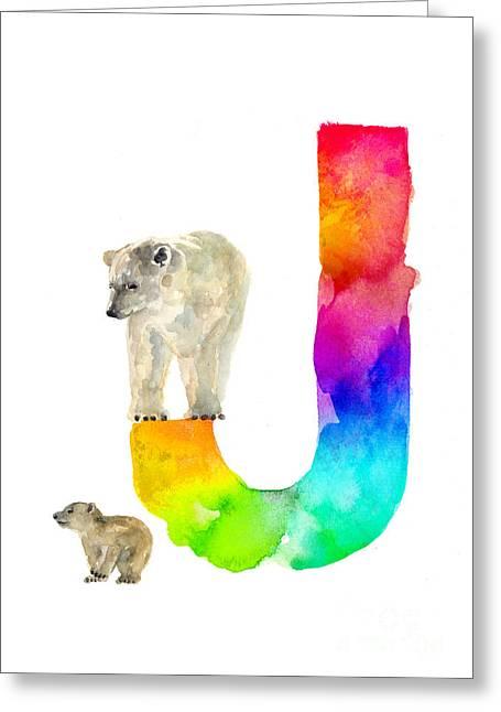 Polar Bear Watercolor Alphabet Poster Greeting Card by Joanna Szmerdt