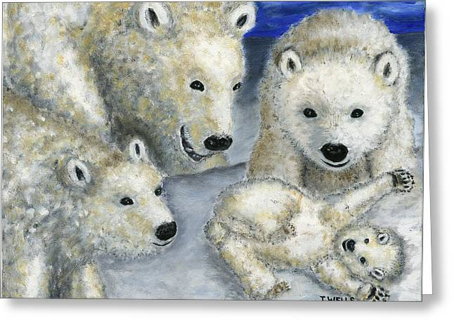 Polar Bears At Play In The Arctic Greeting Card by Tanna Lee M Wells