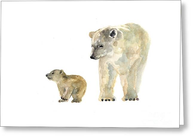 Polar Bears Watercolor Art Print Painting  Greeting Card by Joanna Szmerdt