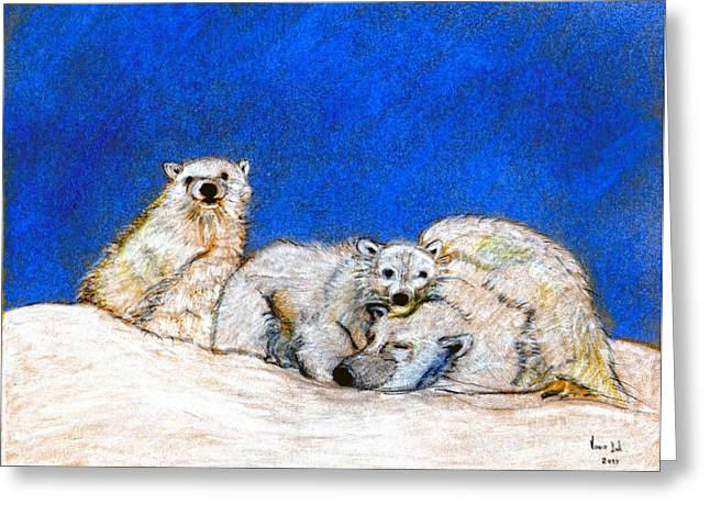 Polar Bears With Love Greeting Card by Marie Loh