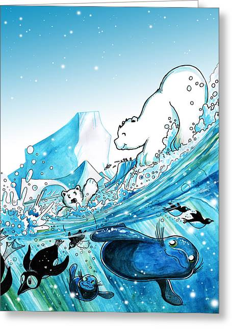 Sea Lions Drawings Greeting Cards - Polar Fun Greeting Card by Luis Peres