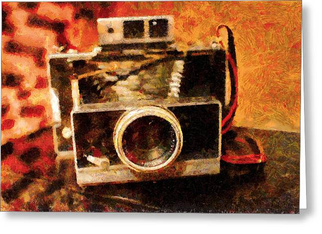 Reflex Greeting Cards - Polaroid Land Camera Model 100 . Painterly . 7D13289 Greeting Card by Wingsdomain Art and Photography