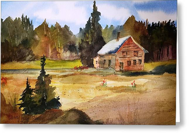 Polebridge Mt Cabin Greeting Card by Larry Hamilton