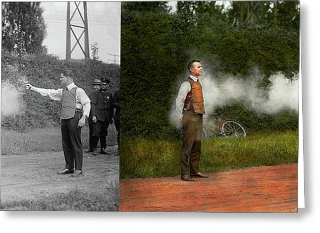 Police - A Real Dummy 1923 - Side By Side Greeting Card by Mike Savad