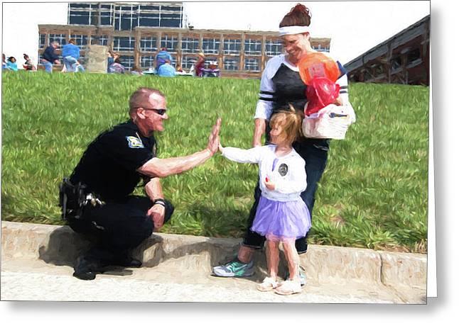 Police High Five Greeting Card by Bud Bartnik