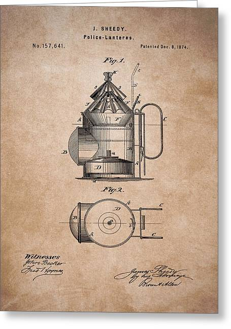 Police Lantern Patent Greeting Card by Dan Sproul