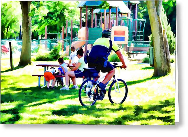 Police Officer Rides A Bicycle Greeting Card by Lanjee Chee