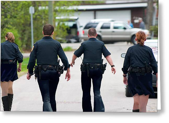 Police Pants Greeting Card by Gravityx9 Designs