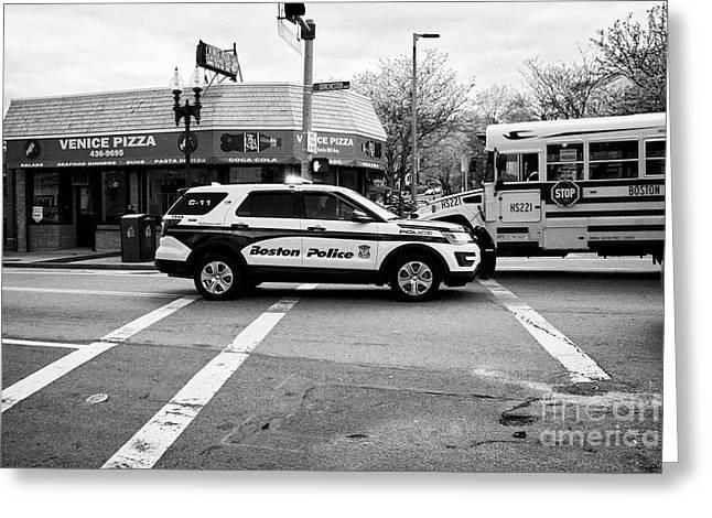 police police ford interceptor suv patrol vehicle on call Boston USA Greeting Card