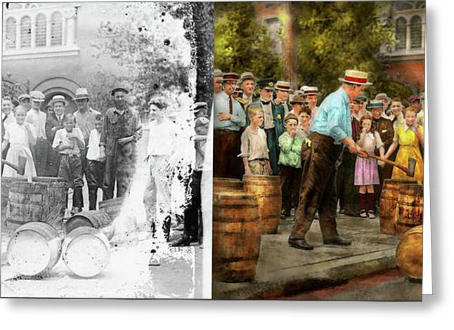 Police - Prohibition - A Smashing Good Time 1921 - Side By Side Greeting Card by Mike Savad
