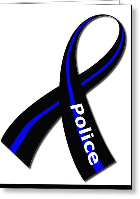 Police Ribbon Greeting Card by Mark Moore
