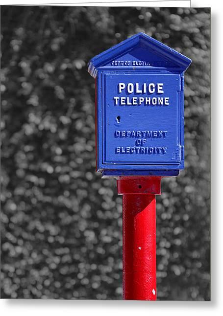 Police Telephone Greeting Card by Nicholas Blackwell