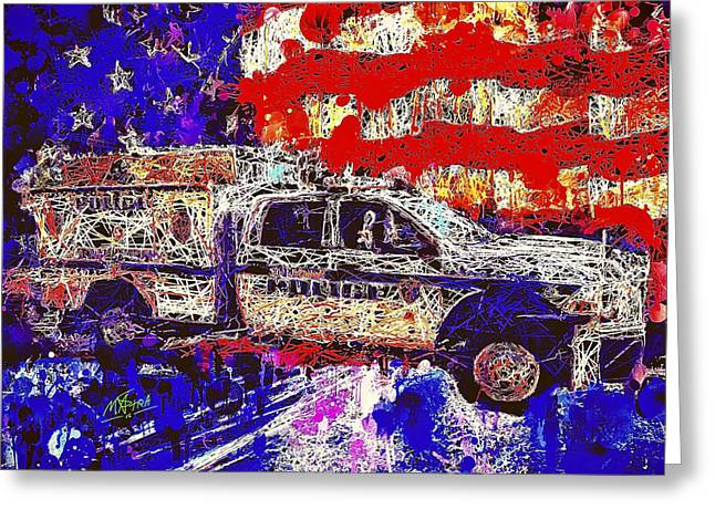 Greeting Card featuring the mixed media Police Truck by Al Matra