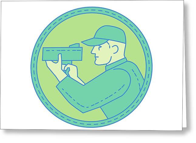 Policeman Speed Radar Gun Circle Mono Line Greeting Card