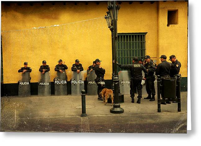 Policia In Lima Peru Greeting Card by Kathryn McBride