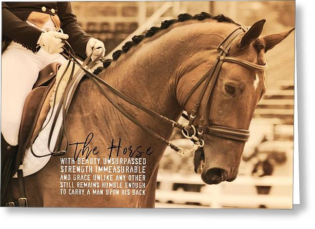 Greeting Card featuring the photograph Polished Presentation Quote by Dressage Design