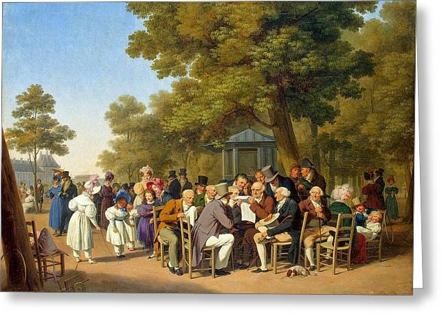 Politicians In The Tuileries Gardens  Greeting Card by MotionAge Designs