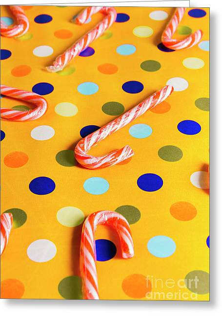 Polka-dot Christmas Canes Greeting Card