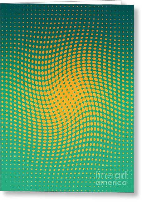 Polka Dots With A Twist Orange And Green Op-art Greeting Card by Heidi De Leeuw