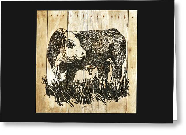 Greeting Card featuring the photograph Polled Hereford Bull 11 by Larry Campbell