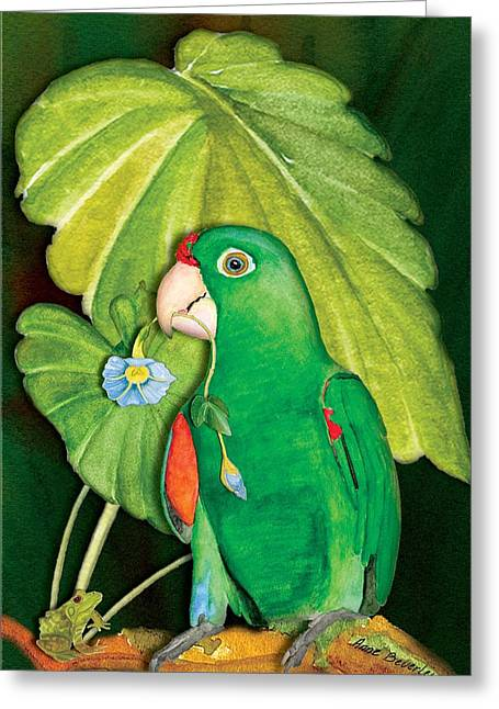 Greeting Card featuring the painting Polly Wants A Flower by Anne Beverley-Stamps