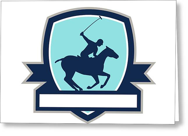 Polo Player Riding Horse Crest Retro Greeting Card