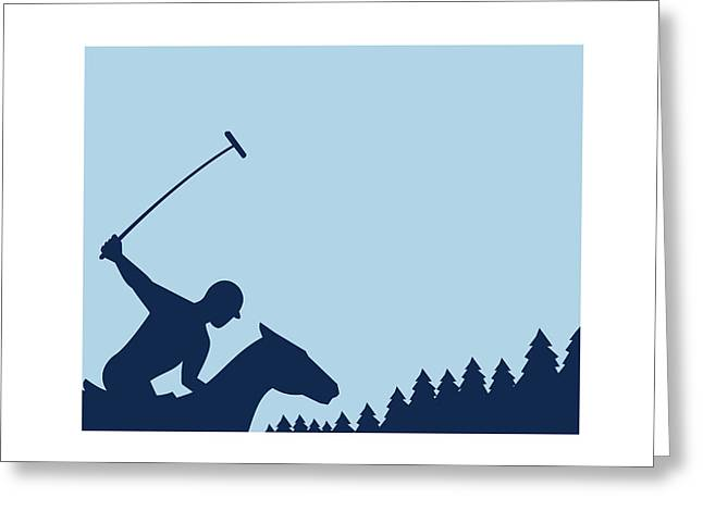 Polo Player Riding Horse Trees Square Retro Greeting Card