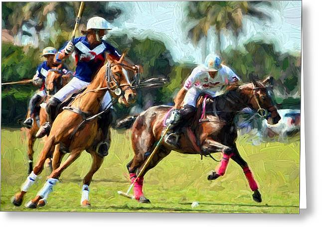 Polo Players And Ponies Greeting Card