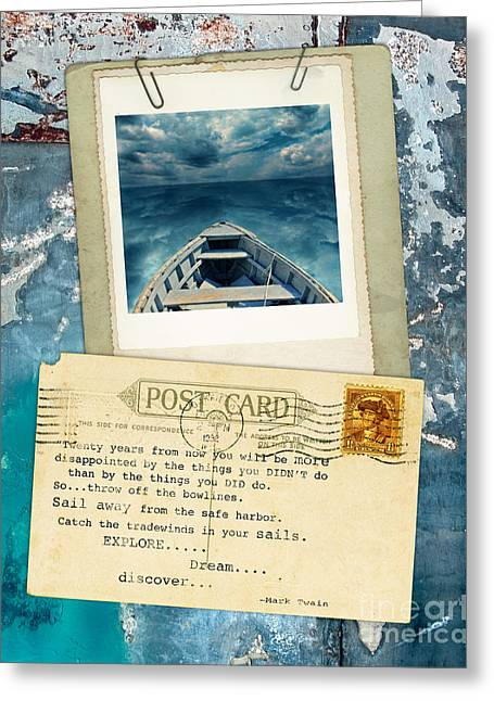 Poloroid Of Boat With Inspirational Quote Greeting Card by Jill Battaglia
