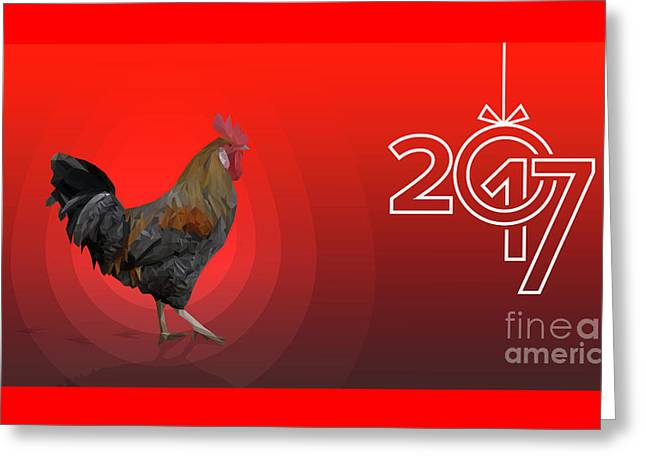 Polygonal Rooster Leghorn Cock On The Red Background Greeting Card